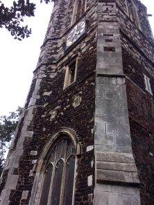 Close-up of tower, with eighteenth-century clock