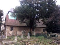 General view of old church (note long-and-short stone-work on quoin) - Copy
