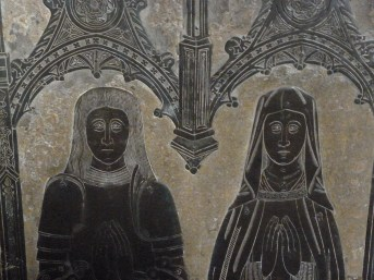 Detail of brass memorial to John Le Strange and his wife