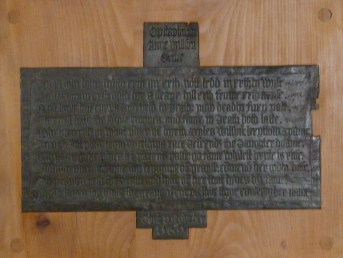 Brass acrostic memorial to Anne Wilson (d. 1569)