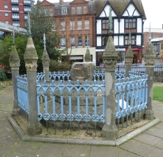 1 - Purported Coronation Stone, Guildhall Precinct (Medieval Clattern Bridge in middle ground)