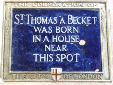 Blue plaque marking Becket's birthplace