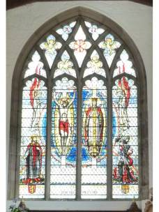 6 - Stained glass window with St Olav in left panel, church of St Olave Hart Street