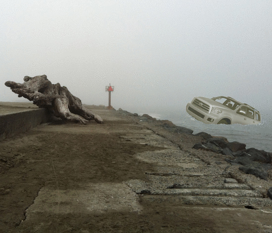 "A Toyota Sequoia adrift near the South Jetty. Owner claims to have been advised by ""the radio."""