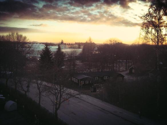 Taken from a balcony facing Economicumparken on 01/05/2013 at 5:00