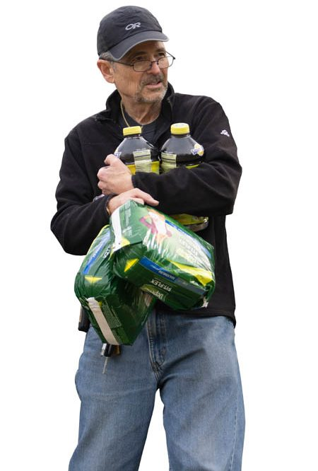 Director Rod Martel with prune juice and Depends.