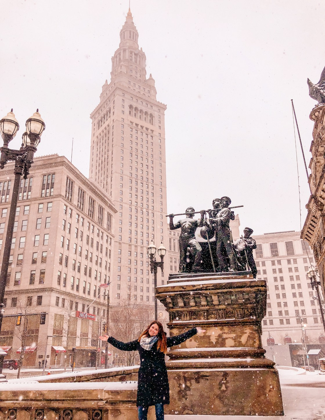 public square, snowy tower city