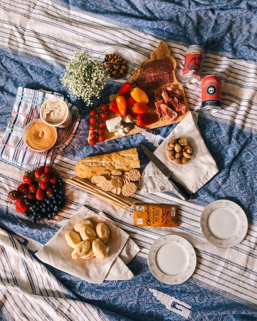Picnic, indoor picnic, picninc set up, flatlay