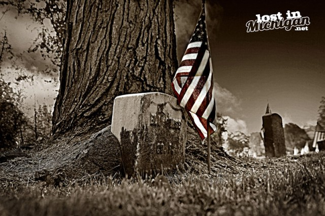 American Flag Tombstone