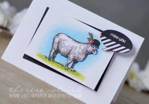 Lostinpaper - Penny Black Animal Wisdom / Chat Bubbles / Snippets Prismacolor Sheep in a Hat (video)
