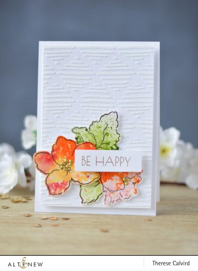 Altenew - Hibiscus Bouquet - Metallic Shimmer Ink Spray - Sketched Lines Stencil - Lostinpaper (card) 1 copy