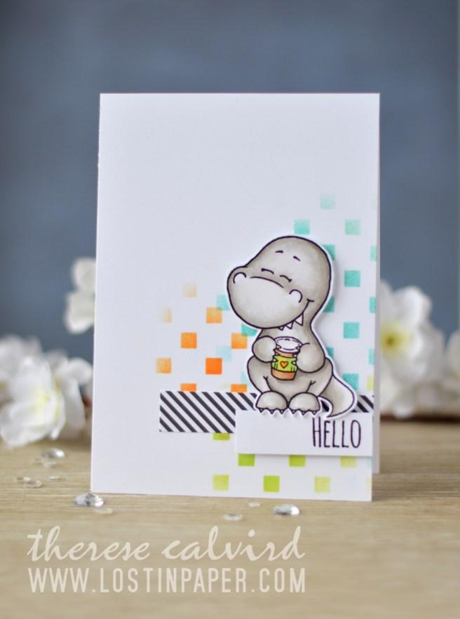 Lostinpaper - Gerda Steiner Designs - Coffeesaurus - Hedgehog with Sign (card video) 1