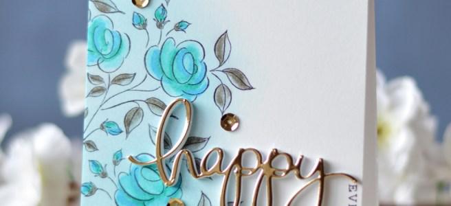 Lostinpaper - Penny Black - Flower Medley - Mama Elephant - Happy (card video) 2