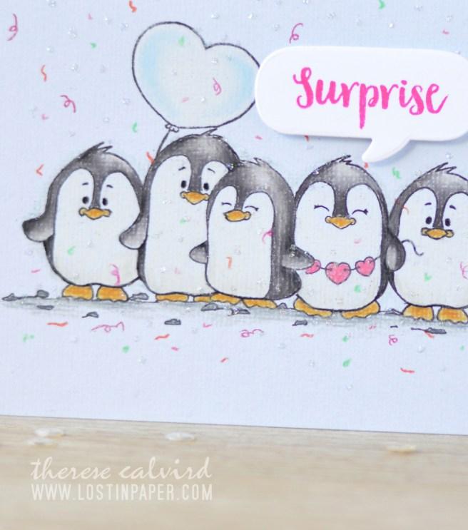 Lostinpaper - Gerda Steiner - Valentine Penguins - Prismacolor Pencils (card video) 1