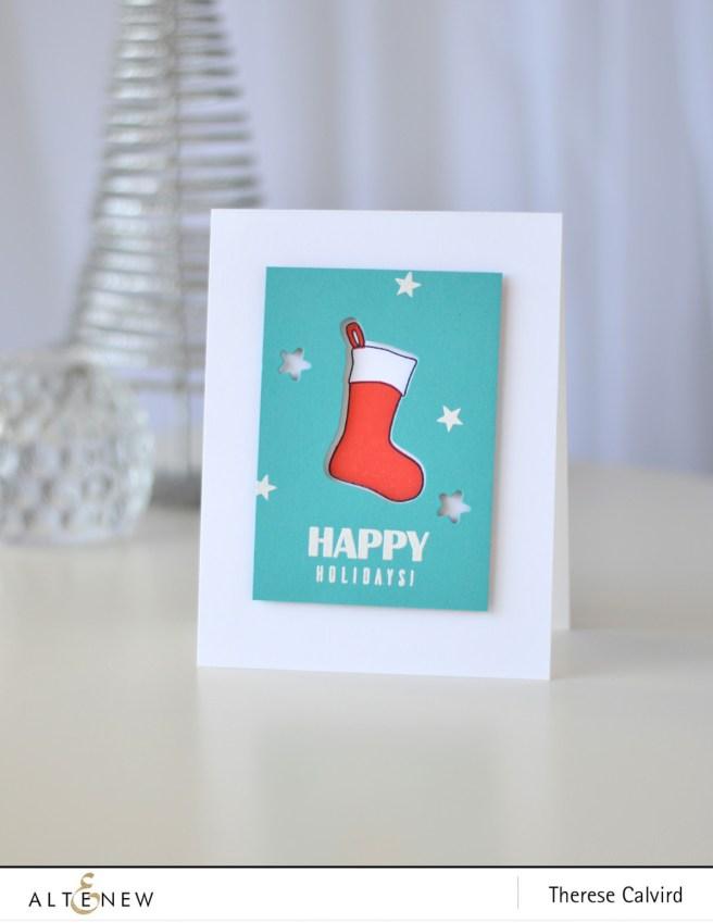 Altenew - Christmas Stockings - Starry Night - Festive Poinsettia - Therese Calvird (card video) 1 copy