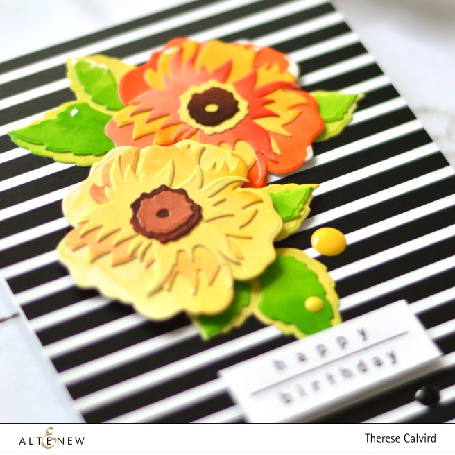 Altenew - Watercolor Brush Markers - Tropical Fiesta - Wild Rose 3D Die - Therese Calvird (card video) 2 copy