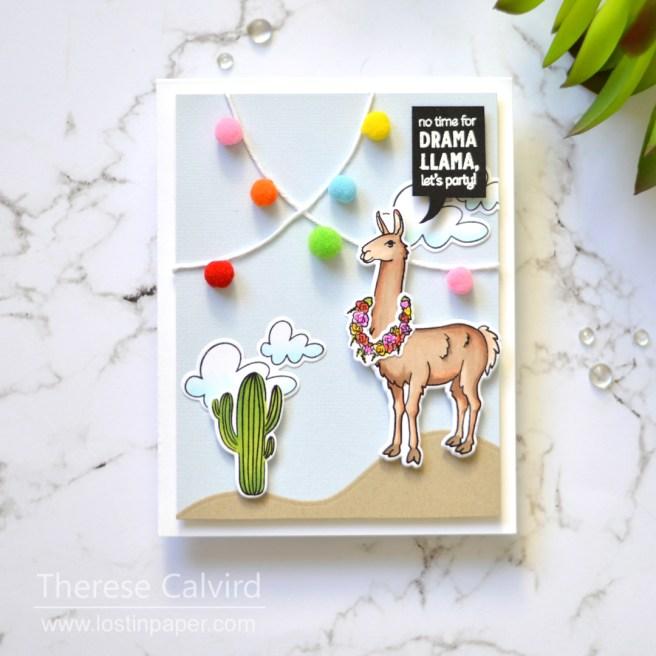 Lostinpaper - Llama Party - Hero Arts - Ellen Hutson (card video) 1