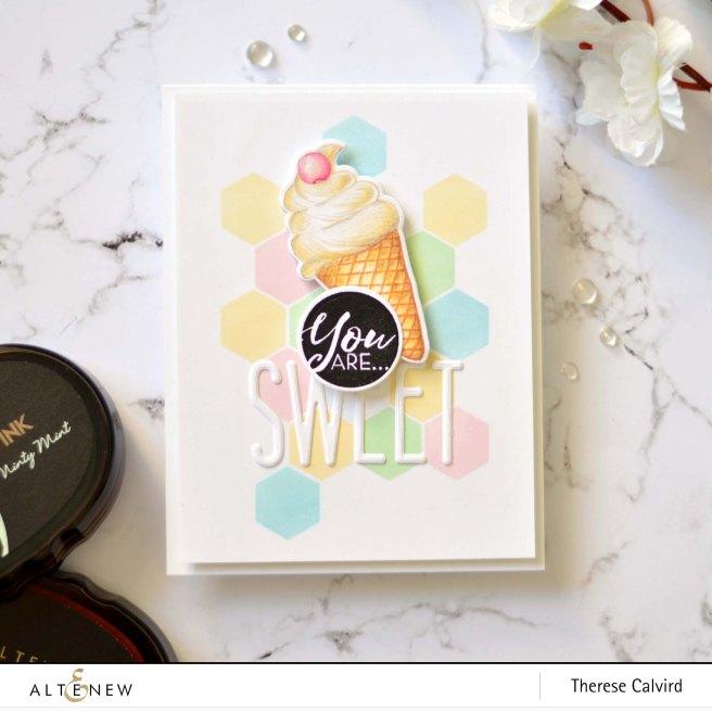 Altenew - Honeycomb Stencil - Summer Swirls - Tall Alpha - Therese Calvird (card video) 3 copy