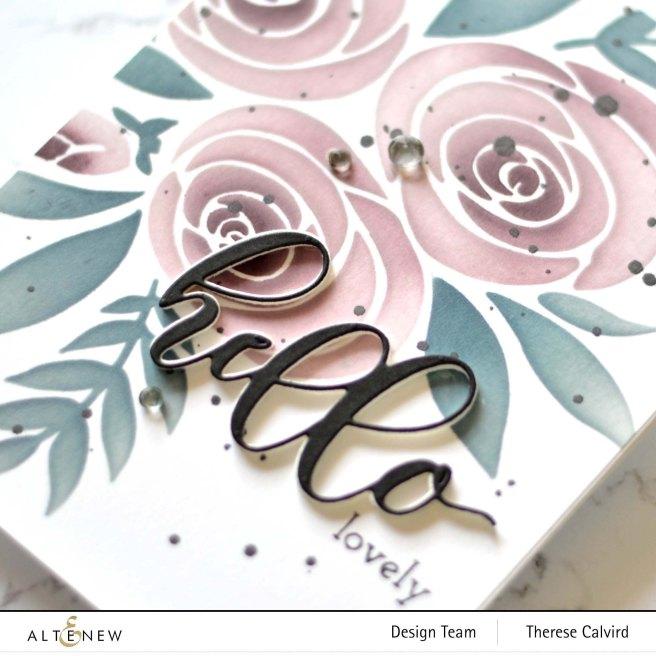 Altenew - Rose Bouquet Stencil - Flower Arrangement - Therese Calvird (card video) 1 copy