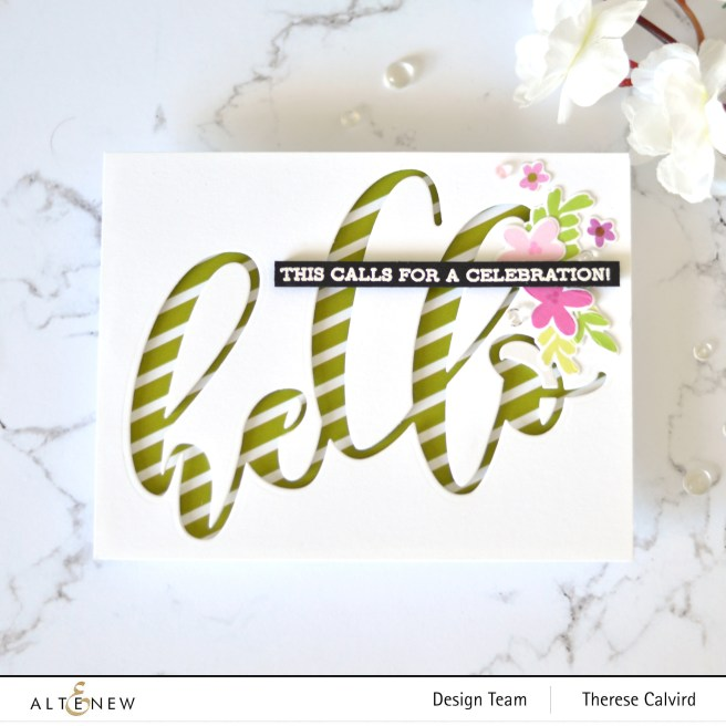 Altenew - Sentiment Strips 2 - Spring Fling - A Love For Stripes - Take 2 With Therese (card video) 7 copy