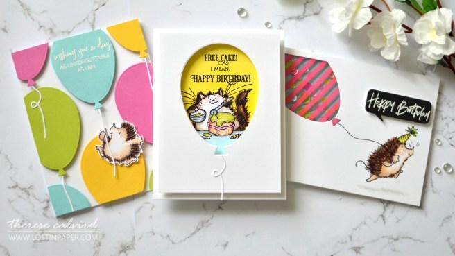 Penny Black Gimme 5 - Critter Balloons - Therese Calvird (card video) 1