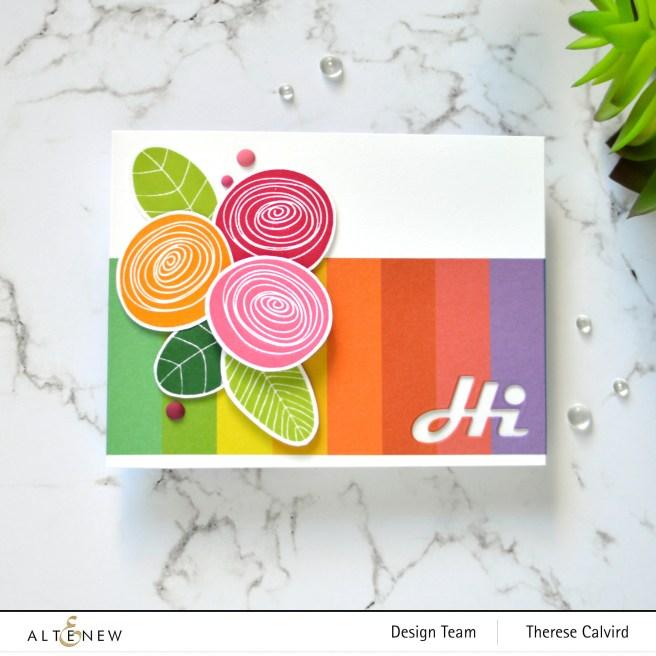 Altenew - Simple Flowers - Block Rainbow Washi Tape - Therese Calvird (card) 1 copy