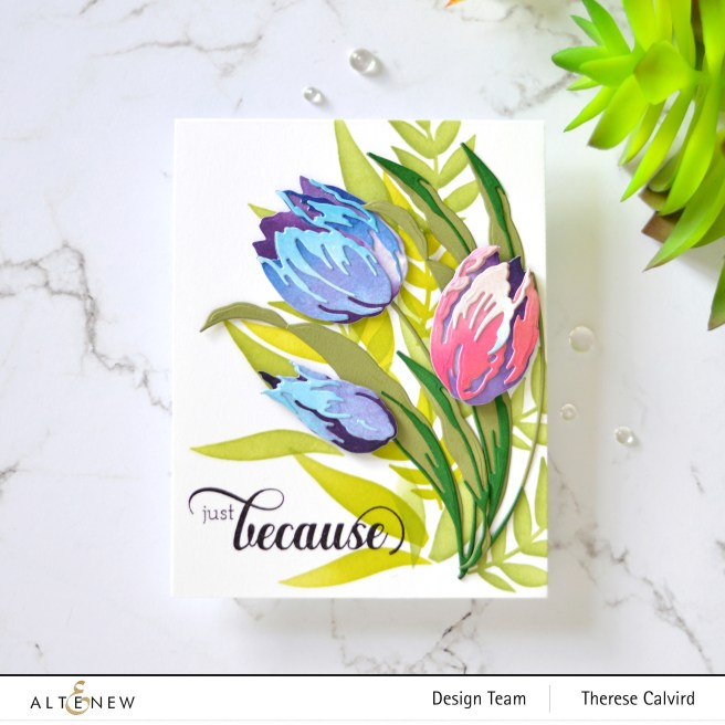 Altenew - Craft-A-Flower - Tulip - Fancy Greetings - Rose Bouqet Stencil - Ink Blending Brush - Enchanting Washes Paper Pack 1 copy