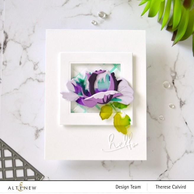 Altenew - Garden Trellis Cover Die - Open Bloom 3D Die - Signature Words - Halftone Squares Die 1 copy