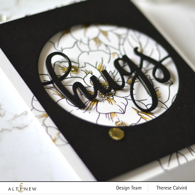 Altenew - Courageous You - Circled Greetings Hugs Die - Antique Gold Sequins 1 copy