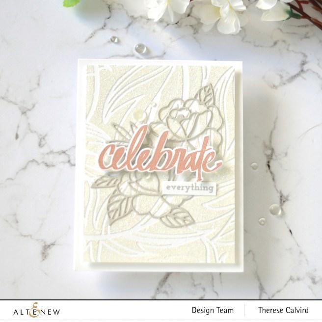 Altenew - Feathery Stencil - Spring Roses Die - Super Script 1 copy