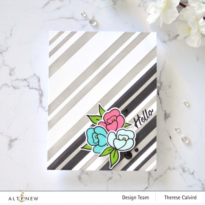 Altenew - Stripe Builder Stencil - Mini Delight - Petite Posy - Statement Flowers (card video) 7 copy