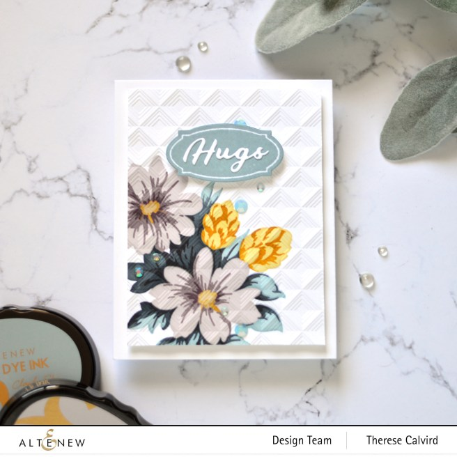 Altenew - Flower Bunch Simple Layering Stencil Set - Modern Squares 3D Embossing Folder - Apothecary Lables - Simple Greetings Die Set (card video) 1 copy
