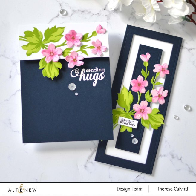 Altenew - Hill Blossom Stencil and Die - Fancy Greetings - Nesting Slim Rectangles - Bold Bloom (Take 2 With Therese) 1