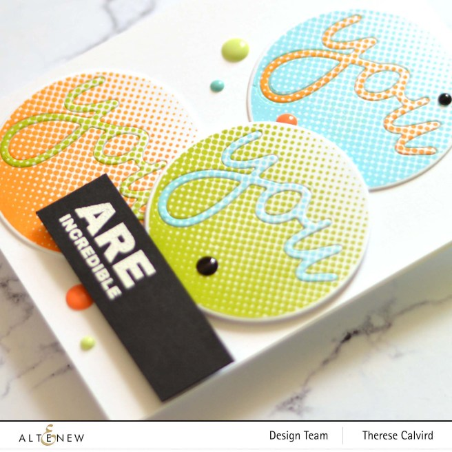 Altenew - All About You Word Die - Halftone Circles - Kind Reminders (card video) 1 copy