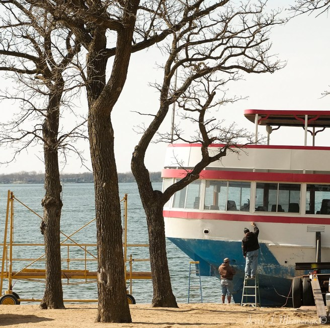 The Queen II tour boat gets a bit of a face lift at the beach for the upcoming tourist season in Arnolds Park, Iowa Tuesday, April 11, 2017. (Photo by Jerry L Mennenga©)
