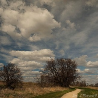 Blue sky, robust clouds and the walking/bike trail in Le Mars, Iowa Tuesday, April 4, 2017. (Photo by Jerry L Mennenga©)