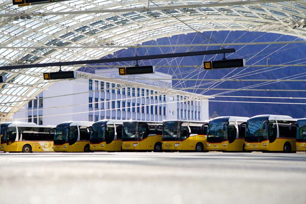 The shiny yellow Postauto buses take you anywhere in Switzerland.