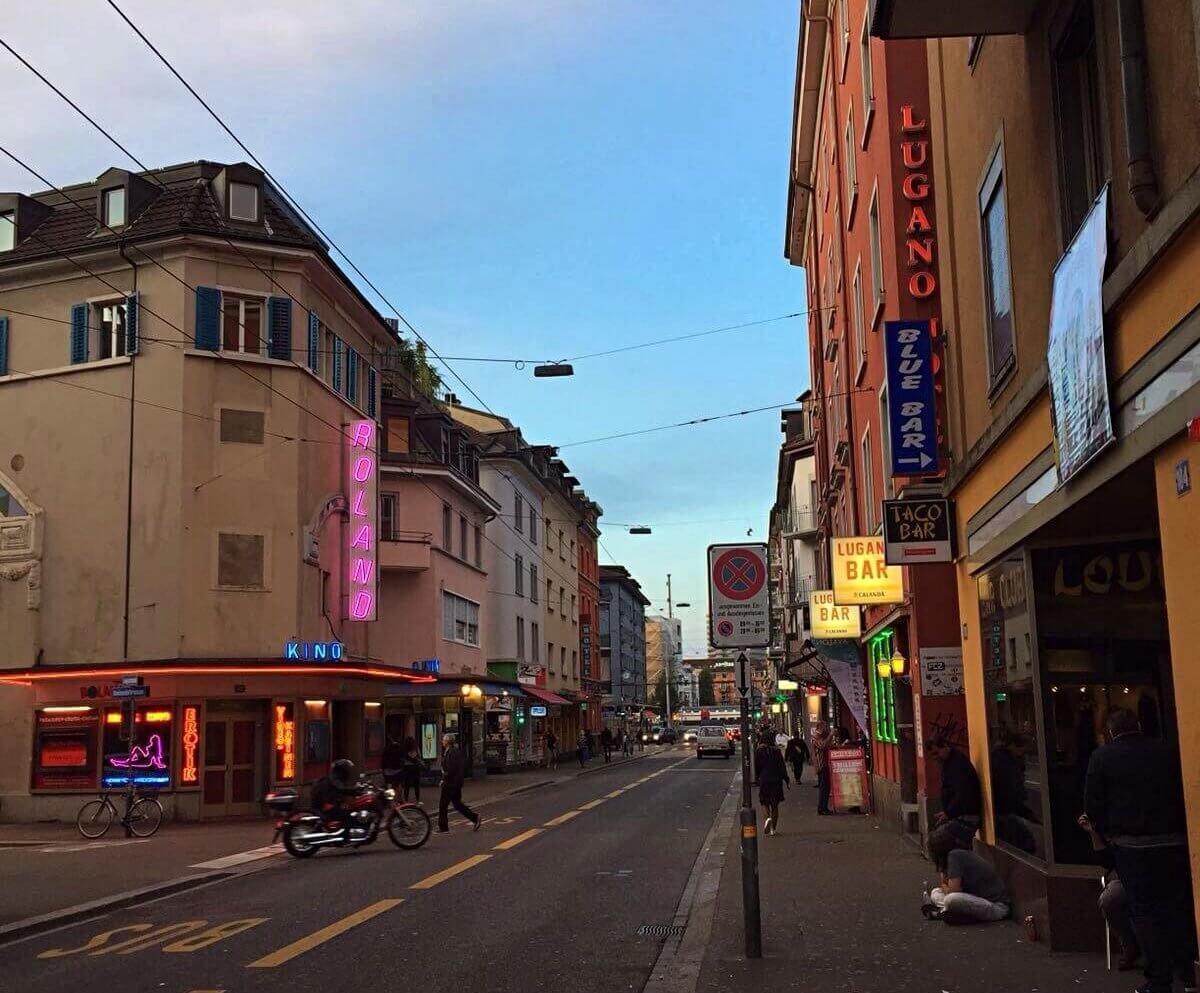 innocent looking Langstrasse before the sun goes down