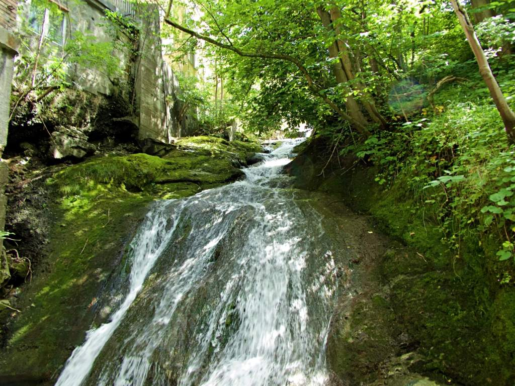 The city's very own waterfall at the Mühlenenschlucht.