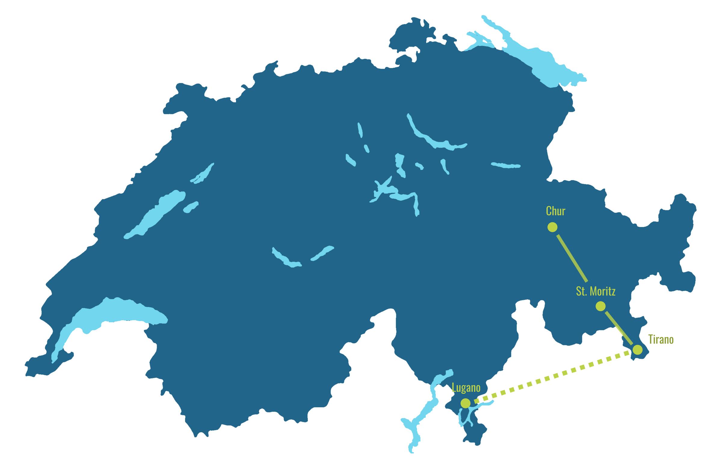 Bernina Express map