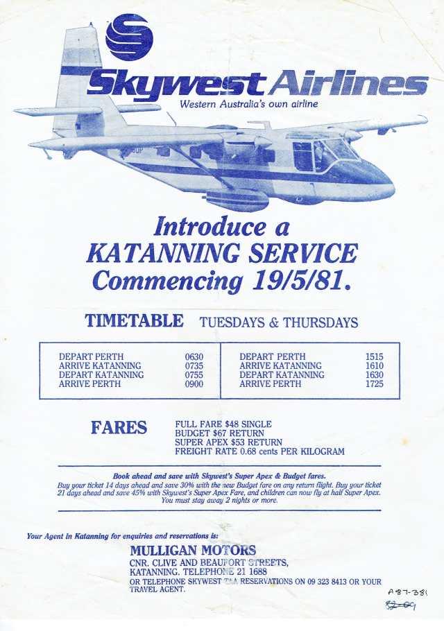 lost katanning airports history