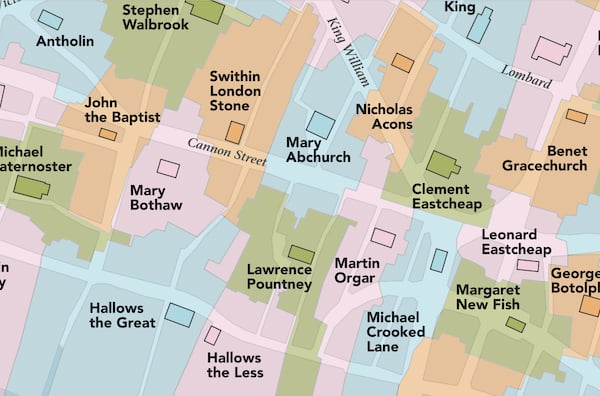 ancient parish guide map close up