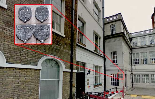 Parish boundary markers for St Olave Old Jewry and St Martin Pomeroy