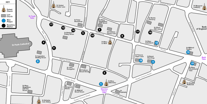 A Cheapside Parishes Map showing boundary markers