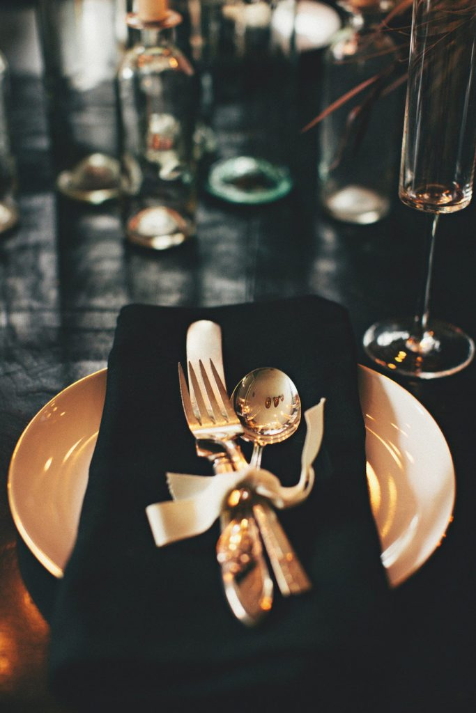 halloween place setting gold flatware
