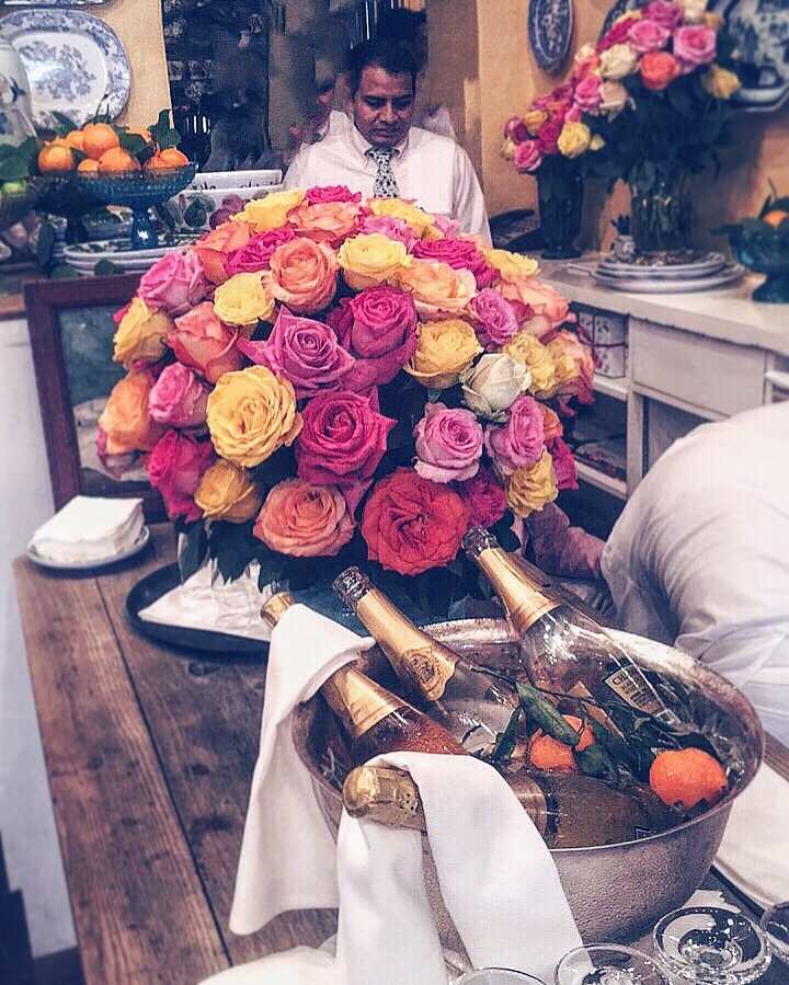 Campagne and Roses at The Ivy Restaurant Los Angeles