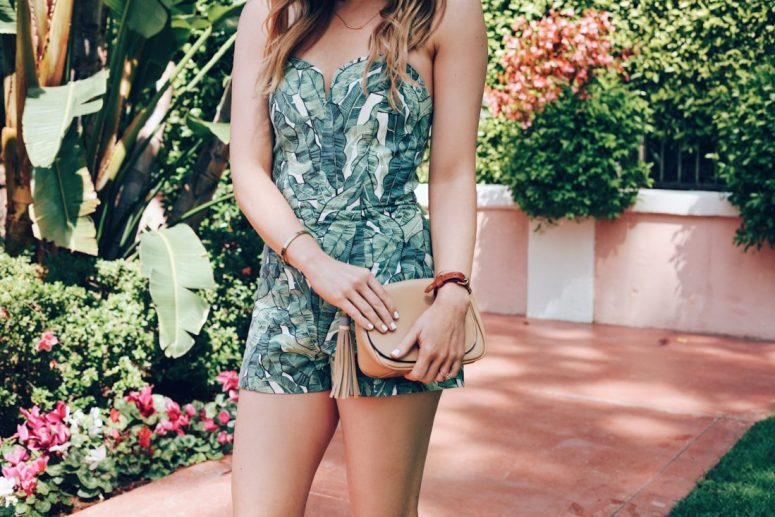 palm print romper beverly hills summer outfit ideas
