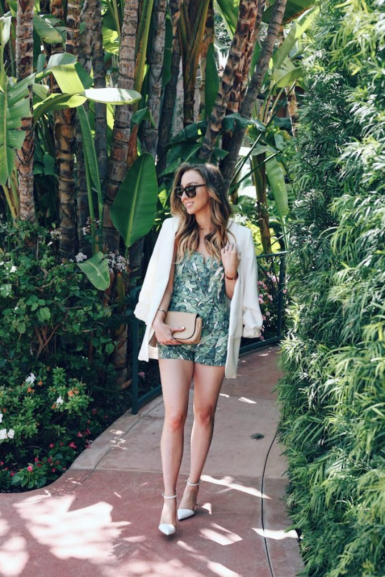 palm print romper summer outfit
