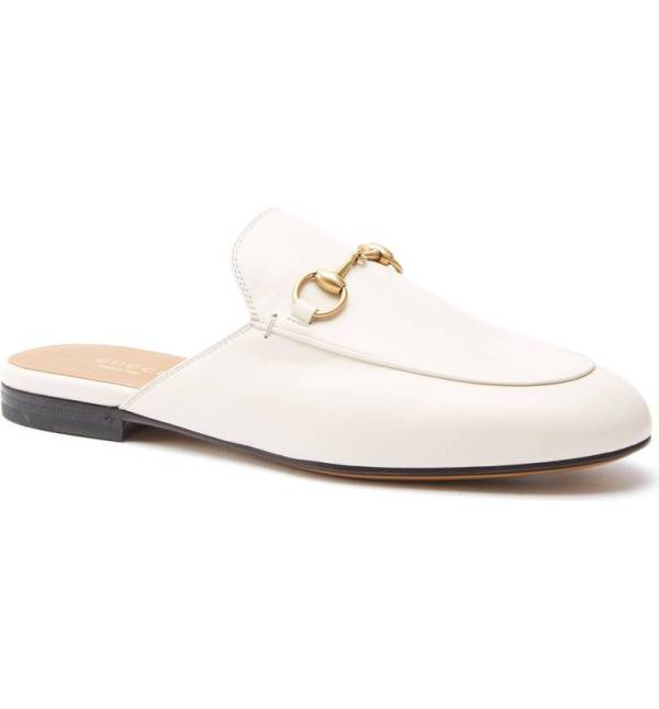 White gucci princeton mule with gold bit - white shoes for spring and summer