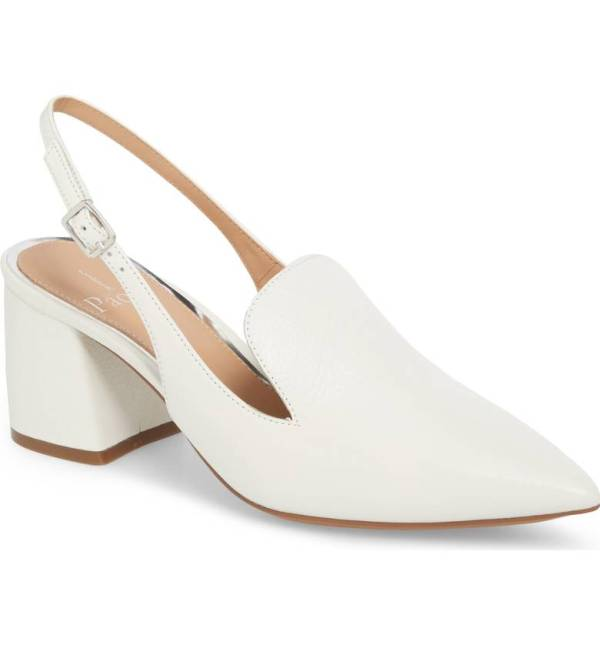White leather slingback pump with chunky heel